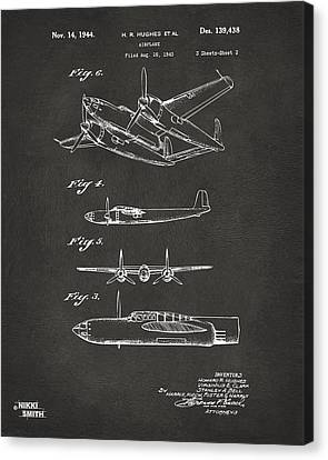 Vintage Air Planes Canvas Print - 1944 Howard Hughes Airplane Patent Artwork 2 - Gray by Nikki Marie Smith