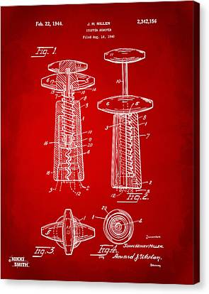 1944 Wine Corkscrew Patent Artwork - Red Canvas Print by Nikki Marie Smith