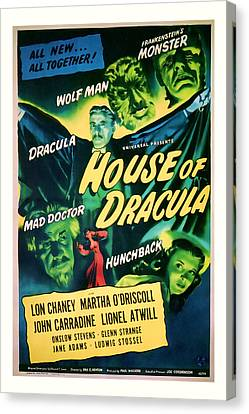 1945 House Of Dracula Vintage Movie Art Canvas Print by Presented By American Classic Art