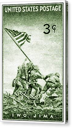 1945 Marines On Iwo Jima Stamp Canvas Print