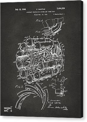 1946 Jet Aircraft Propulsion Patent Artwork - Gray Canvas Print by Nikki Marie Smith