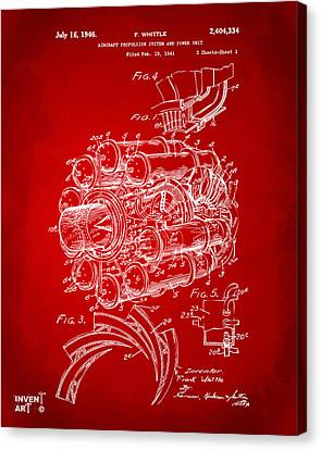 1946 Jet Aircraft Propulsion Patent Artwork - Red Canvas Print by Nikki Marie Smith