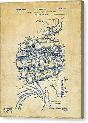 1946 Jet Aircraft Propulsion Patent Artwork - Vintage Canvas Print by Nikki Marie Smith