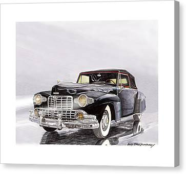 1946 Lincoln Continental Convertible Foggy Reflection Canvas Print by Jack Pumphrey