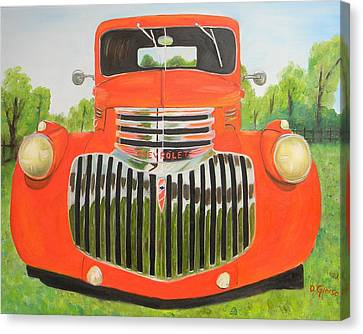 1946 Red Chevy Truck Canvas Print