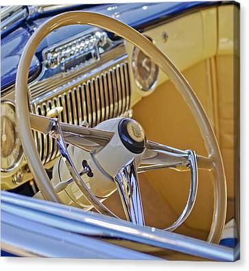 1947 Cadillac 62 Steering Wheel Canvas Print by Jill Reger