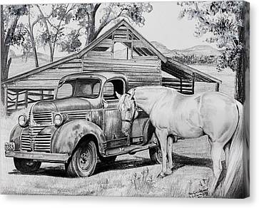 1947 Dodge Pick Up And Codi Canvas Print by Carolyn Valcourt