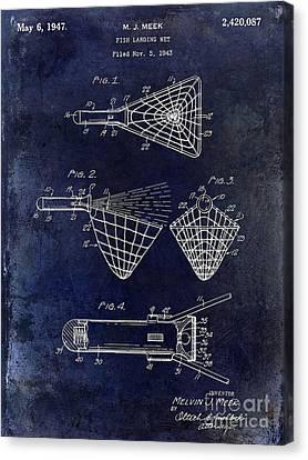1947 Fishing Net Patent Drawing Blue Canvas Print