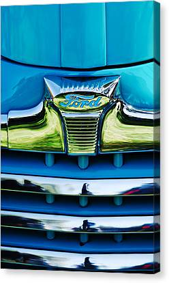 1947 Ford Deluxe Grille Ornament -0700c Canvas Print by Jill Reger