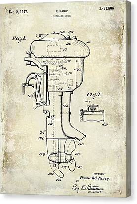 Trout Canvas Print - 1947 Outboard Motor Patent Drawing by Jon Neidert