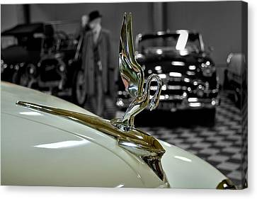 1947 Packard Hood Ornimate Canvas Print by Michael Gordon