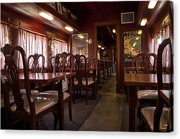 1947 Pullman Railroad Car Dining Room Canvas Print by Thomas Woolworth