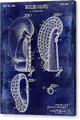 Boxer Canvas Print - 1948 Boxing Glove Patent Drawing Blue by Jon Neidert
