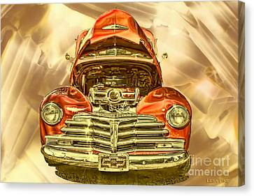 1948 Chev Red Gold Metal Art Canvas Print