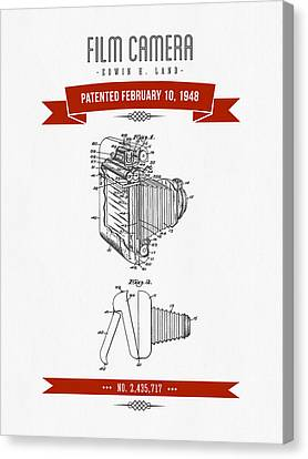 1948 Film Camera Patent Drawing - Retro Red Canvas Print by Aged Pixel