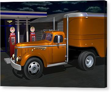 Old Trucks Canvas Print - 1948 Gmc Diesel by Stuart Swartz
