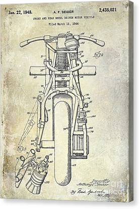 1948 Indian Motorcycle Patent Drawing Canvas Print by Jon Neidert