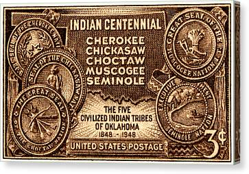 1948 Oklahoma Indian Centennial Stamp  Canvas Print by Historic Image