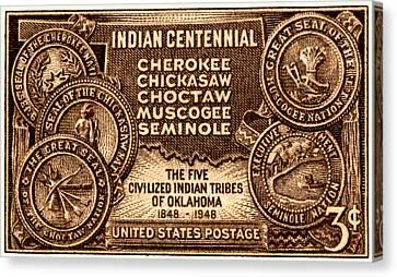 1948 Oklahoma Indian Centennial Stamp  Canvas Print