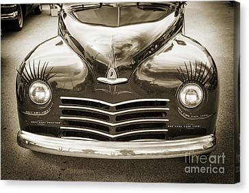 1948 Plymouth Classic Car Front End In Black And White Sepia 338 Canvas Print by M K  Miller