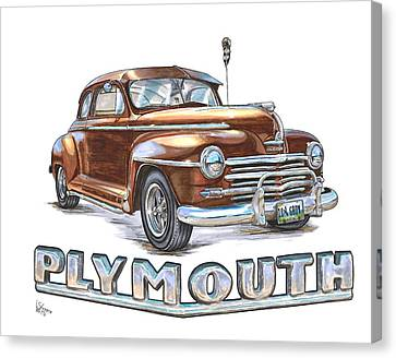 Hot Rod Canvas Print - 1948 Plymouth by Shannon Watts