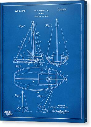 1948 Sailboat Patent Artwork - Blueprint Canvas Print by Nikki Marie Smith