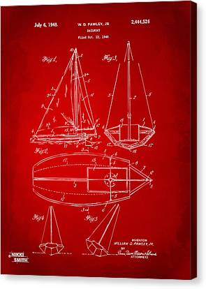 Row Boat Canvas Print - 1948 Sailboat Patent Artwork - Red by Nikki Marie Smith