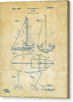 Row Boat Canvas Print - 1948 Sailboat Patent Artwork - Vintage by Nikki Marie Smith