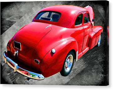 1948 Series 2100 Fk Fleetmaster Gangster Red On Asphalt Canvas Print by Lesa Fine