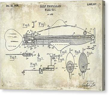 1949 Artificial Fish Lure Patent Drawing Blue Canvas Print