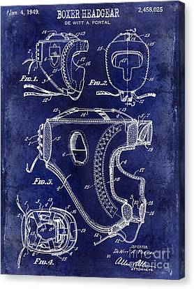 Boxer Canvas Print - 1949 Boxer Headgear Patent Drawing Blue by Jon Neidert