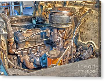 1949 Chevy Truck Engine Canvas Print by D Wallace