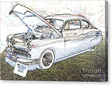 1949 Mercury Coupe In Color Light Drawing 3036.03 Canvas Print by M K  Miller