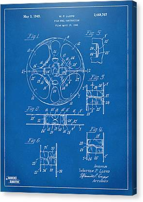 Reel Canvas Print - 1949 Movie Film Reel Patent Artwork - Blueprint by Nikki Marie Smith