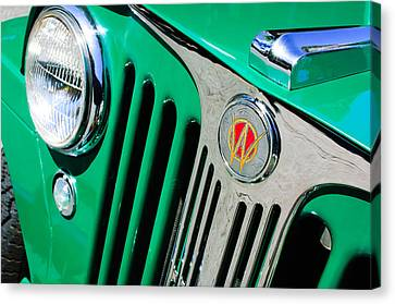 1949 Willys Jeep Station Wagon Grille Emblem Canvas Print by Jill Reger