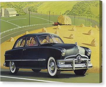 Custom Ford Canvas Print - 1950 Custom Ford Blank Greeting Card by Walt Curlee