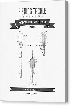 1950 Fishing Tackle Patent Drawing Canvas Print by Aged Pixel