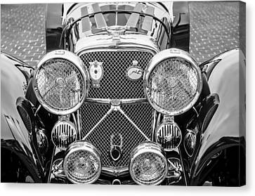 1950 Jaguar Xk120 Roadster Grille -0260bw Canvas Print
