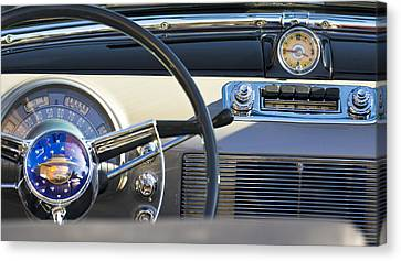 1950 Oldsmobile Rocket 88 Steering Wheel 3 Canvas Print by Jill Reger