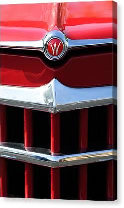 1950 Willys Overland Jeepster Hood Emblem Canvas Print by Jill Reger