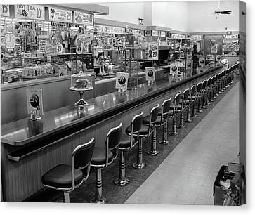 Linoleum Canvas Print - 1950s 1960s Interior Of Lunch Counter by Vintage Images