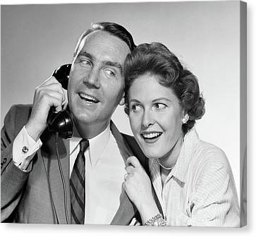 Anticipation Canvas Print - 1950s 1960s Man Talking On Telephone by Vintage Images