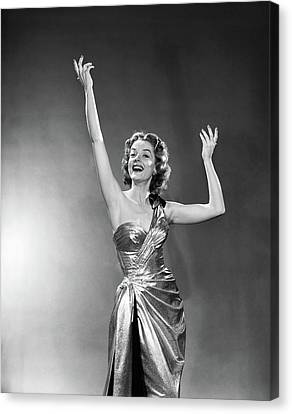 Gold Lame Canvas Print - 1950s 1960s Woman Smiling Arms Raised by Vintage Images