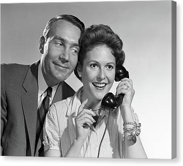 Husband And Wife Canvas Print - 1950s 1960s Woman Talking On Phone by Vintage Images