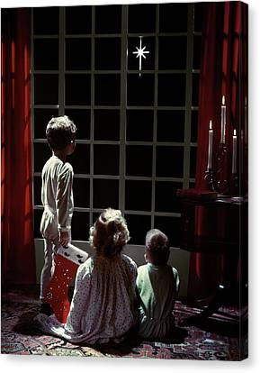 Anticipation Canvas Print - 1950s 2 Boys & Girl Pajamas Looking by Vintage Images