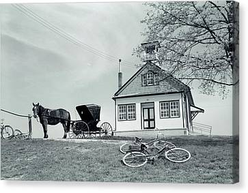 Amish Community Canvas Print - 1950s Amish One-room Schoolhouse At Top by Vintage Images