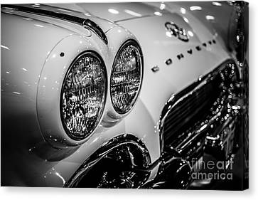 1950's Chevrolet Corvette C1 In Black And White Canvas Print by Paul Velgos