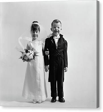 Tom Boy Canvas Print - 1950s Children Groom Bride Wedding by Vintage Images