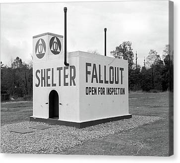 Atomic Bomb Canvas Print - 1950s Civil Defense Fallout Shelter by Vintage Images