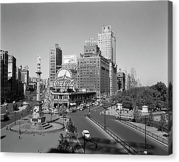 Old Bus Stations Canvas Print - 1950s Columbus Circle Looking North by Vintage Images